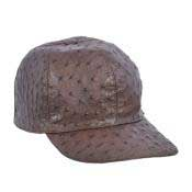 Brown Genuine Ostrich Cap