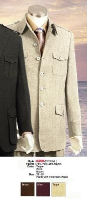 comes in Taupe or Brown or Wine Military Safari Style Leisure Casual Cheap Priced Business Suits Clearance