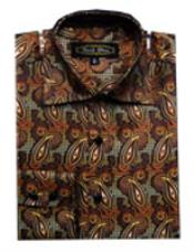 Fancy Shirts Brown (100% Polyester) Flashy Shiny Satin Silky Touch