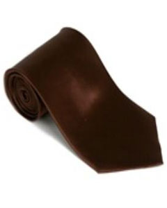 Brown 100% Silk Solid Necktie With Handkerchief