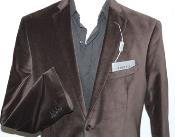 Mens Adolfo Cotton Chocolate Brown Velvet Blazer Jacket