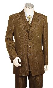 Mens 3 Piece Vested Brown Unique Exclusive Fashion Suit