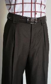 Velenti Brand Mens Wide Leg Pants Brown Unhemmed Unfinished Bottom