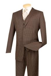 Brown Stripe ~ Pinstripe Vested 3 Piece three piece suit - Jacket + Pants + Vest