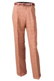 Brown Flat Front 100% Wool Pleated Pant With Flap Back Pockets