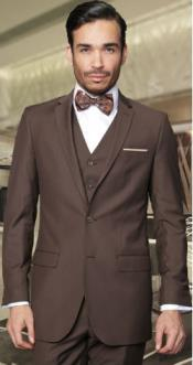 2-Button Vested 3 Pieces 3PC Slim Fitted Cut Skinny Lapel Wool Suit Brown