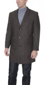 Mens Dress Coat Brown Herringbone Wool Blend 3/4 Overcoat ~ Long Mens