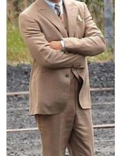 Brown Single Breasted Wool Blend vested suit