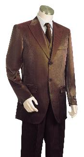 Brown Shiny Flashy Sharkskin Peak Lapel Vested 3 Piece