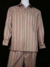Mens Centerline Stripes 2pc Buff Shirt and Pants