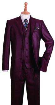 Burgundy ~ Wine ~ Maroon Color Notch Lapel Jacket  3 Button Fashion Suit w/ Pants Vest