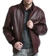 Full Sleeve Moto Collar 100% Genuine Lambskin Leather Burgundy ~ Wine