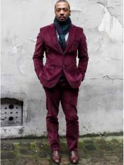 Mens CORDUROY SUIT ( Blazer Sportcoat + Slacks) Burgundy ~ Wine ~ Maroon Color