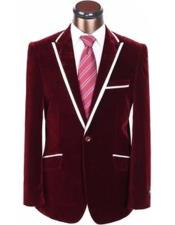 Burgundy ~ Wine ~ Maroon Color Velvet Blazer With White Trim Lapel Sport Coat Jacket Blazer