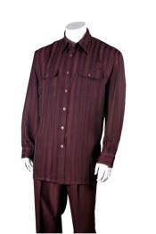 Mens Burgundy ~ Wine ~ Maroon Color 100% Polyester Striped Pinstripe Design