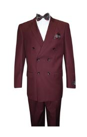 Mens Burgundy ~ Wine ~ Classic Double Breasted Suits Solid Color Burgundy