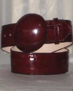 Authentic Faded Burgundy ~ Wine ~ Maroon Eel Skin Western Cowboy Belt