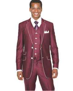 Style Suit by Milano Moda Mens Burgundy ~ Wine ~ Maroon