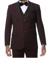 Mens Wine Maroon/Burgundy side vents and flat front style pants Burgundy Tuxedo