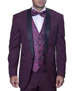 Black and Burgundy ~ Wine ~ Maroon Suit  / Tux Wine With Black Lapel Vested Suit