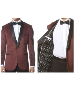 Shawl Collar Dinner Smoking Velour Jacket Notch Lapel Slim Fit Burgundy
