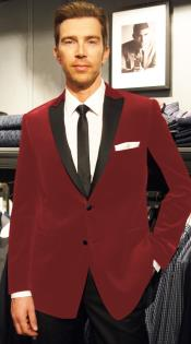 Velour Blazer Formal Tuxedo Jacket Sport Coat Two Tone Trimming Notch Collar Burgundy ~ Maroon ~ Wine