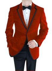 Velour Blazer Formal Tuxedo Jacket Sport Coat Two Tone Trimming Notch Collar Black and Burgundy ~ Maroon