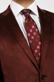 Alberto Nardoni Brand Mantoni Velvet Blazer Sport Jacket For Men Burgundy ~ Wine ~ Maroon Color