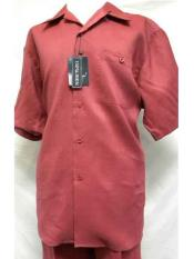 Mens 2 Piece Red Linen Short Sleeve Casual Two Piece Mens Walking