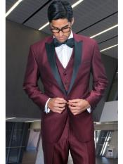 Peak Lapel Jacket & Pants only No Vest Tuxedo Suit  Dinner Jacket Black and Burgundy ~