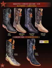 Los Altos Mens Genuine Smooth caiman ~ World Best Alligator ~ Gator Skin/Tail Cowboy Western Boots Diff
