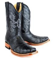 King Exotic Caiman (Gator) Belly Skin Rodeo Style Black Boot