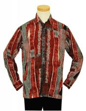 Bassiri Black / Red / White Artistic Design Microfiber Casual Long Sleeves Dress Fashion Shirt