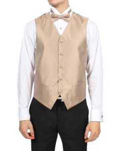 Mens Solid Champagne Pattern 4-Piece Vest Set Also available in Big and Tall Sizes
