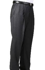 Dacron Polyester Charcoal Somerset Double-Pleated Slacks / Dress Pants Trouser Harwick