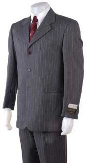 Mens Available in 2 or 3 Buttons Style Regular Classic Cut/4 Button Style Charcoal Gray Pinstripe Light