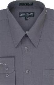 Mens Dress Shirt Chap Charcoal Grey/Gray For Men Mens Dress Cheap Priced