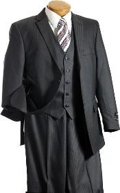 Light Weight Fabric 3PC Vested Charcoal TNT Mens three piece suit