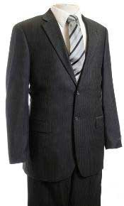 Mens Suit Charcoal Stripe ~ Pinstripe Affordable Cheap Priced Business Suits Clearance