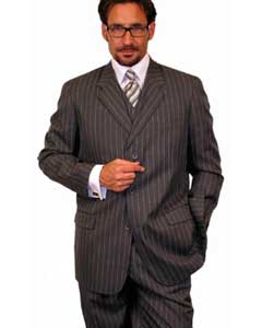 1920s 30s Fashion Look Available in 2 or 3 buttons Charcoal Gray Chalk Bold Pinstripe Vested 3