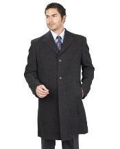 Mens Long Jacket With 2 Side Pocket PolyRayon Blend Unfinished Hem Charcoal