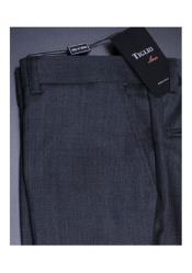 Mens Premium Charcoal Nail Head Flat Front Pants 100% Fine Italian