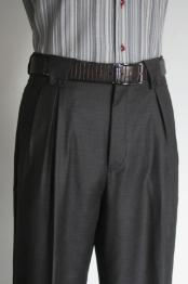 Super 150s 100% Wool Wide Leg Dress Pants / Slacks Charcoal unhemmed unfinished bottom