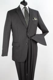Mens 2 Piece 100% Wool Executive Suit - Charcoal with Silver Stripe