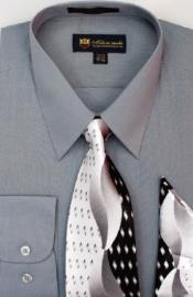 Moda Classic Cotton Ties and Handkerchiefs Charcoal Mens Dress Shirt