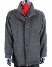Mens Dress Coat Wool Cashmere Solid Pattern Warm Dress Trendy Charcoal Gray