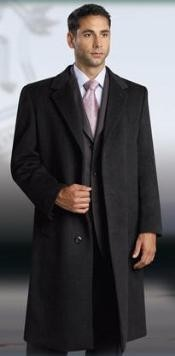 Breasted 3 Button Jet Black Mens Dress Coat Full Length Wool&Cashmere Overcoat