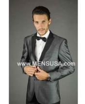 Mens Charcoal Silver Grey Tux Gray Tuxedo ~ Wedding Black Lapel Groom Suit