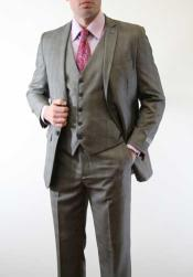 Slim Fitted Skinny Vested Three Piece Suit Plaid Window Pane Grey