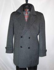 Mens Double Breasted Wool Full Collar ¾ Length Charcoal Grey 4 Buttons Carcoat